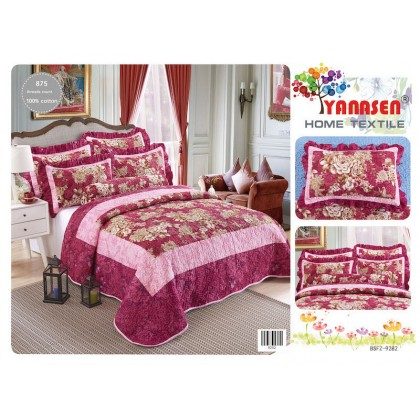 7 in 1 Set Quality 875TC Red Flower Floral 100% Cotton Bedding Bedsheet King Size