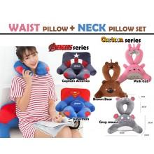 3D Waist + Neck Pillow Travel / Rest / Cartoon