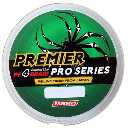 PROBEROS 100M Durable Colorful PE 4 Strands Monofilament Braided Fishing Line Angling Accessory (Yellow)