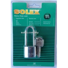 SOLEX Heavy Duty Padlock 30mm Long Shackle (CHROME)
