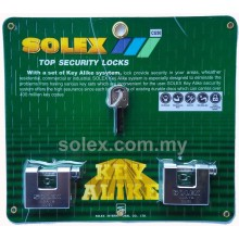 SOLEX CU Padlock 5:1 Key Alike 40mm - 60mm (CHROME) 5 in 1