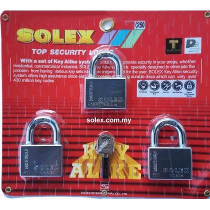 SOLEX Premium R-CR Padlock 10:1 Key Alike 40mm - 50mm (CHROME) 10 in 1