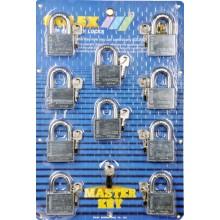 SOLEX Premium R-CR Master Key 10:1 Padlock 40mm - 60mm (CHROME) 10 in 1