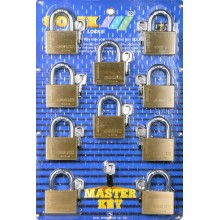 SOLEX Premium R Master Key 10:1 Padlock 35mm - 55mm (BRASS) 10 in 1