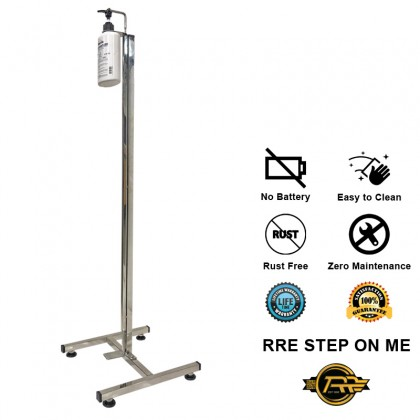 RRE STEP ON ME [A] Foot Pump Hand Sanitizer Holder Stainless Steel 304 Portable Mobile Stand Universal 28mm Bottle Cap Size