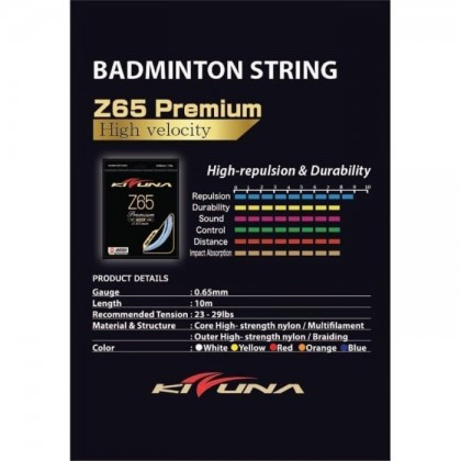 KIZUNA Z65 Premium Gauge [K] 0.65MM Original Made in Japan Badminton String Tali Racquet (Hard Feel)