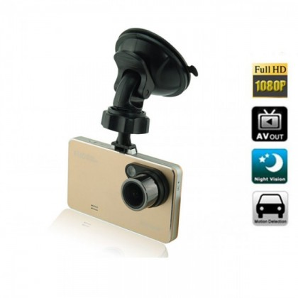 2.6 Inch LCD 1080P HD Ultrathin 170 Degree Wide-Angle G-Sensor GPS Car Driving Video Recorder - Gold