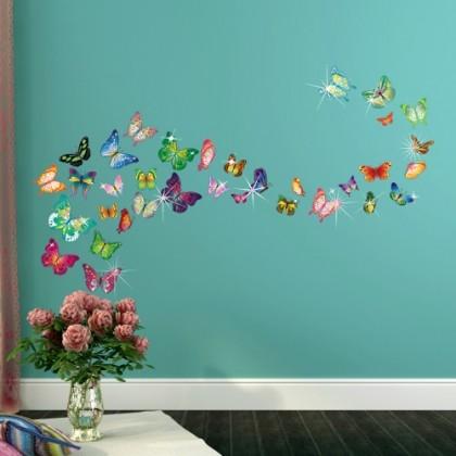 34PCS COLORFUL BUTTERFLIES WITH 38PCS AUTHENTIC SWAROVSKI ELEMENTS 34pcs Colorful Butterflies