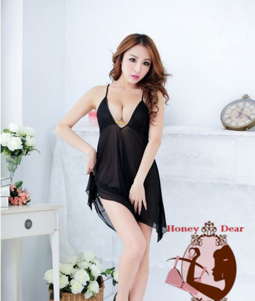 Sexy Babydoll Black Dress YW617