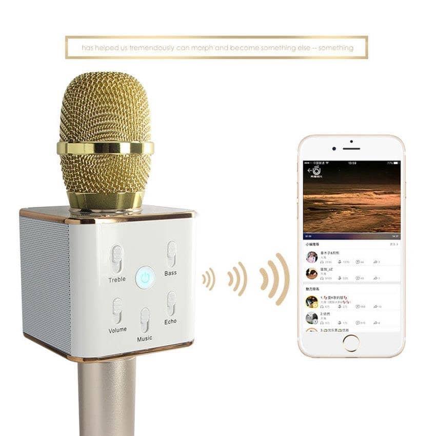 TUXUN Q7 Mobile Karaoke Wireless Bluetooth Speaker Microphone Mic (Gold)