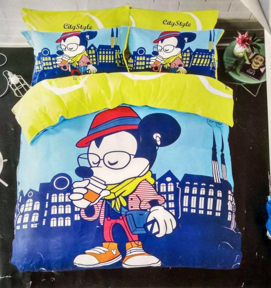 6 in 1 Set High Quality 800TC Mickey Mouse Bedding Queen King Size