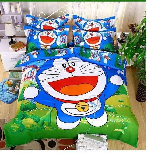 Cute 6 in 1 Set Quality 800TC Doraemon Bedding Bed Sheet Queen King Size