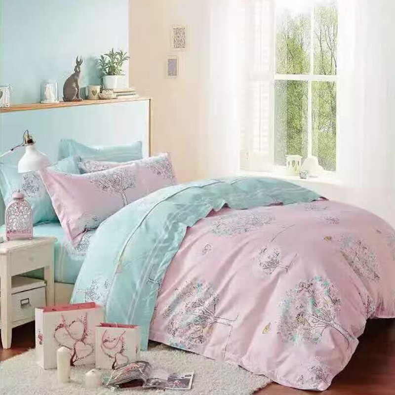 6 in 1 Set Quality 800TC Pink Tree Bedding Bed Sheet Queen King Size