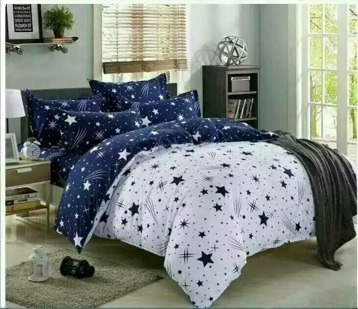 6 in 1 Set Quality 800TC Fashion Galaxy Star Bedding Bedsheet Queen King Size