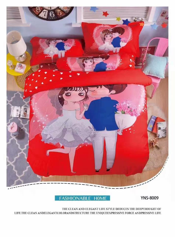 Wedding 5 in 1 Set Quality 800TC Couple Bedding Bed Sheet Queen King Size