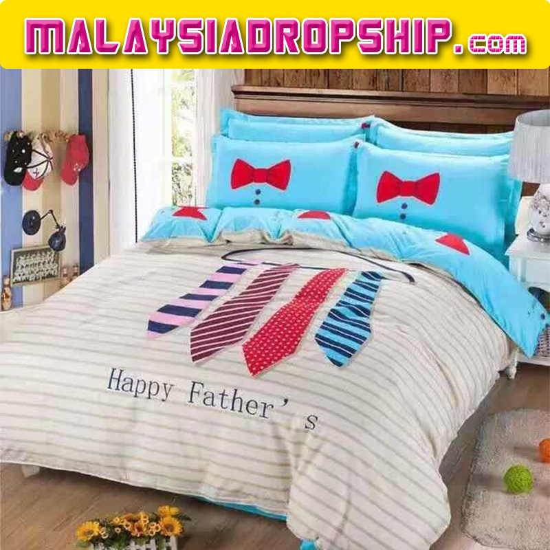6 in 1 Set Quality 800TC Happy Father Bedding Bed Sheet Queen King Size