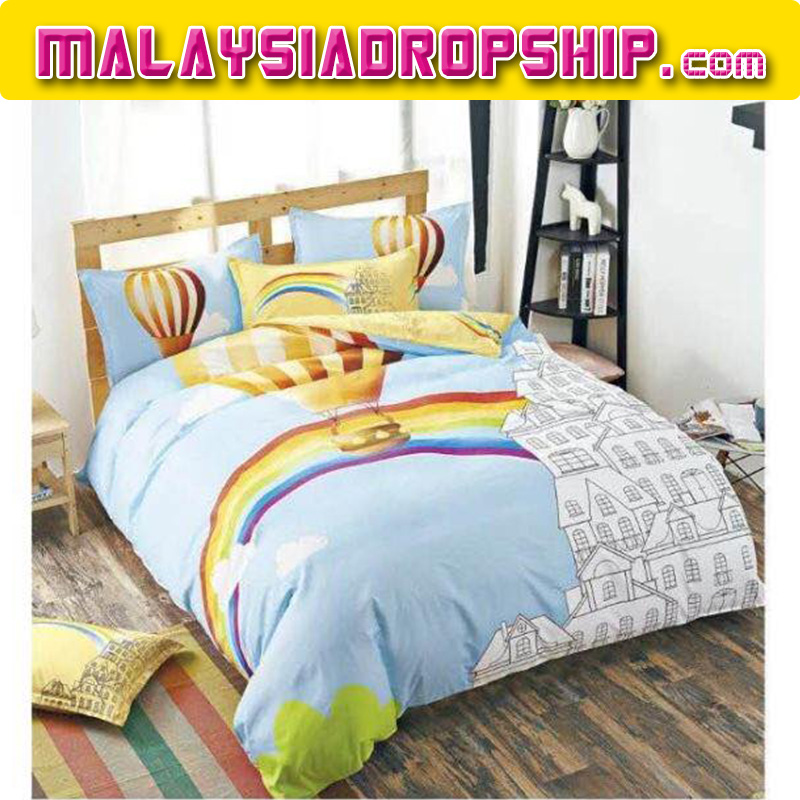6 in 1 Set Quality 800TC Rainbow Balloon Bedding Bed Sheet Queen King Size