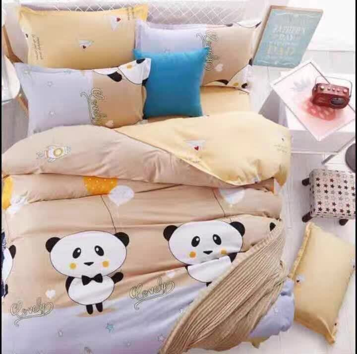 6 in 1 Set Quality 800TC Cute Panda Bedding Bed Sheet Queen King Size