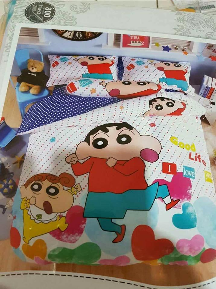 6 in 1 Set Quality 800TC Shinchan Bedding Bedsheet Queen King Size