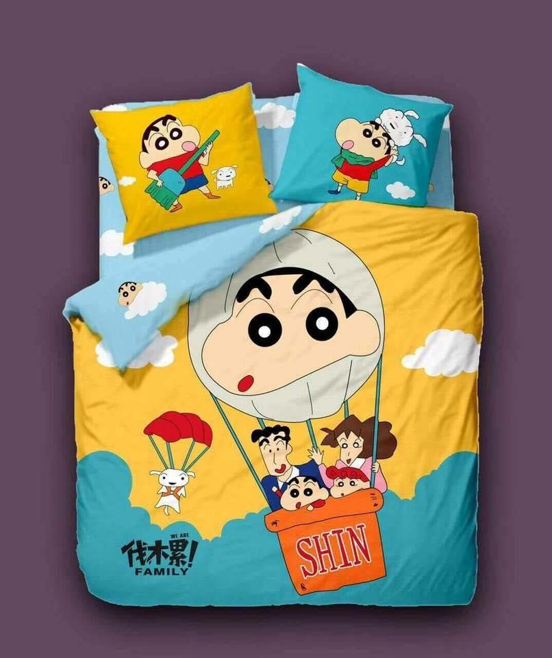 5 in 1 Set 800TC Shinchan Hello Kitty London Queen King Bedding Bed Sheet