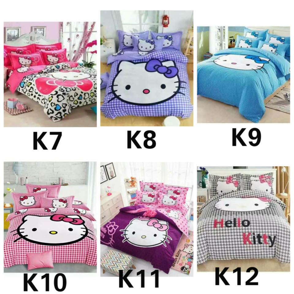 Cute 5 in 1 Set Quality 800TC Hello Kitty Queen King Size Bedding Bed Sheet