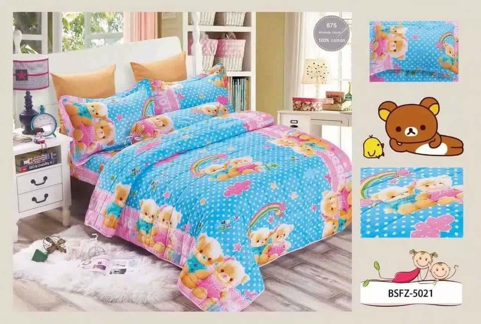 4 In 1 Set High Quality 800TC Rilakkuma Bedding Bed Sheet Super Single Size