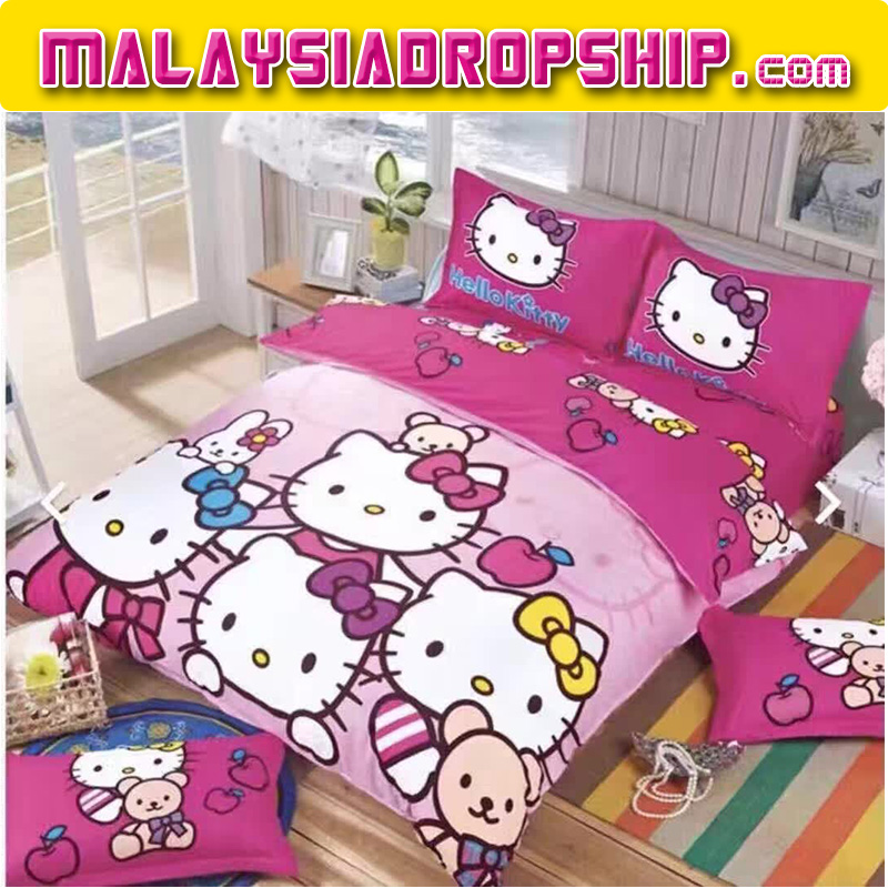 6 in 1 Set High Quality 800TC Hello Kitty Bedding Bed Sheet Queen King Size