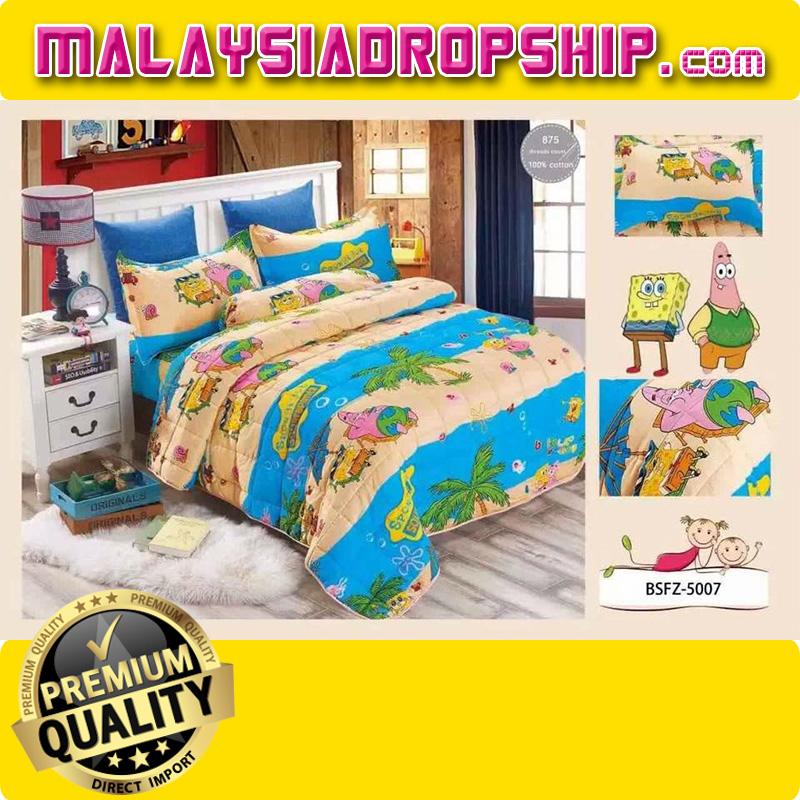 4 in 1 Set High Quality 800TC SpongeBob Bedding Bed Sheet Super Single Size