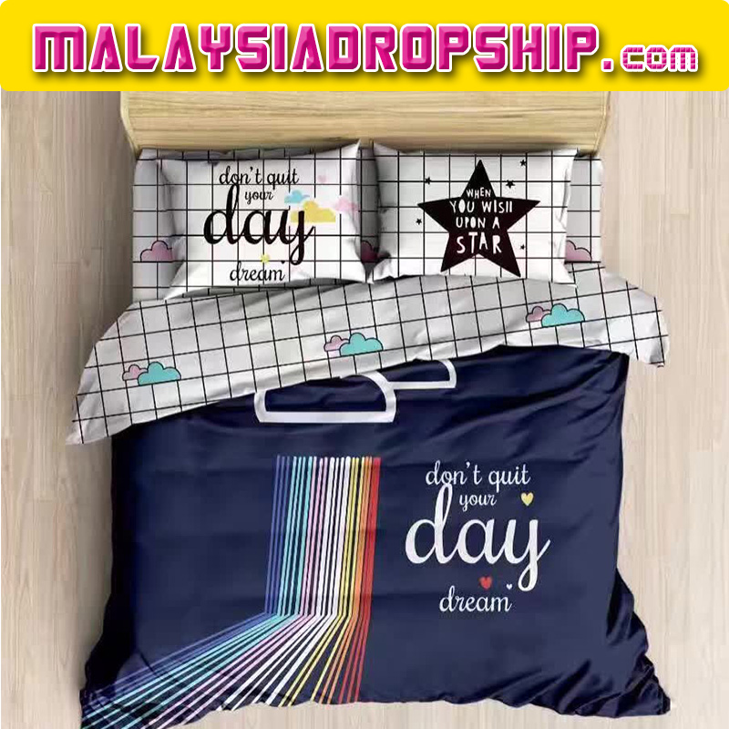 Quotes 6 in 1 Set Quality 1200TC Motivation Bedding Bedsheet Queen King Size