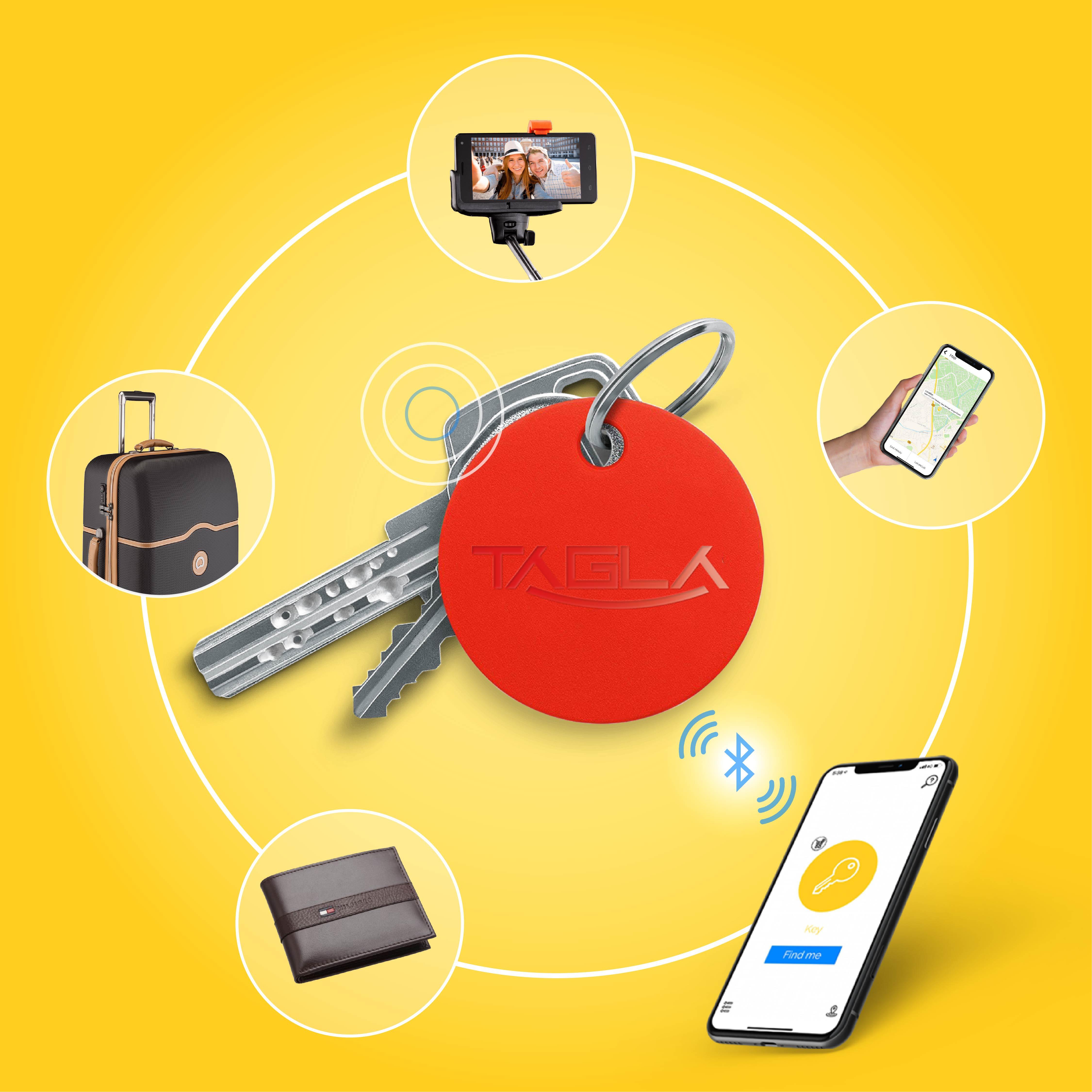 TAG La V2 Bluetooth Tracker Key Finder Item Finder Anti lost alarm device for Security-Key Locator, Wallet Tracker, Phone Finder, Selfie Remote (Red)