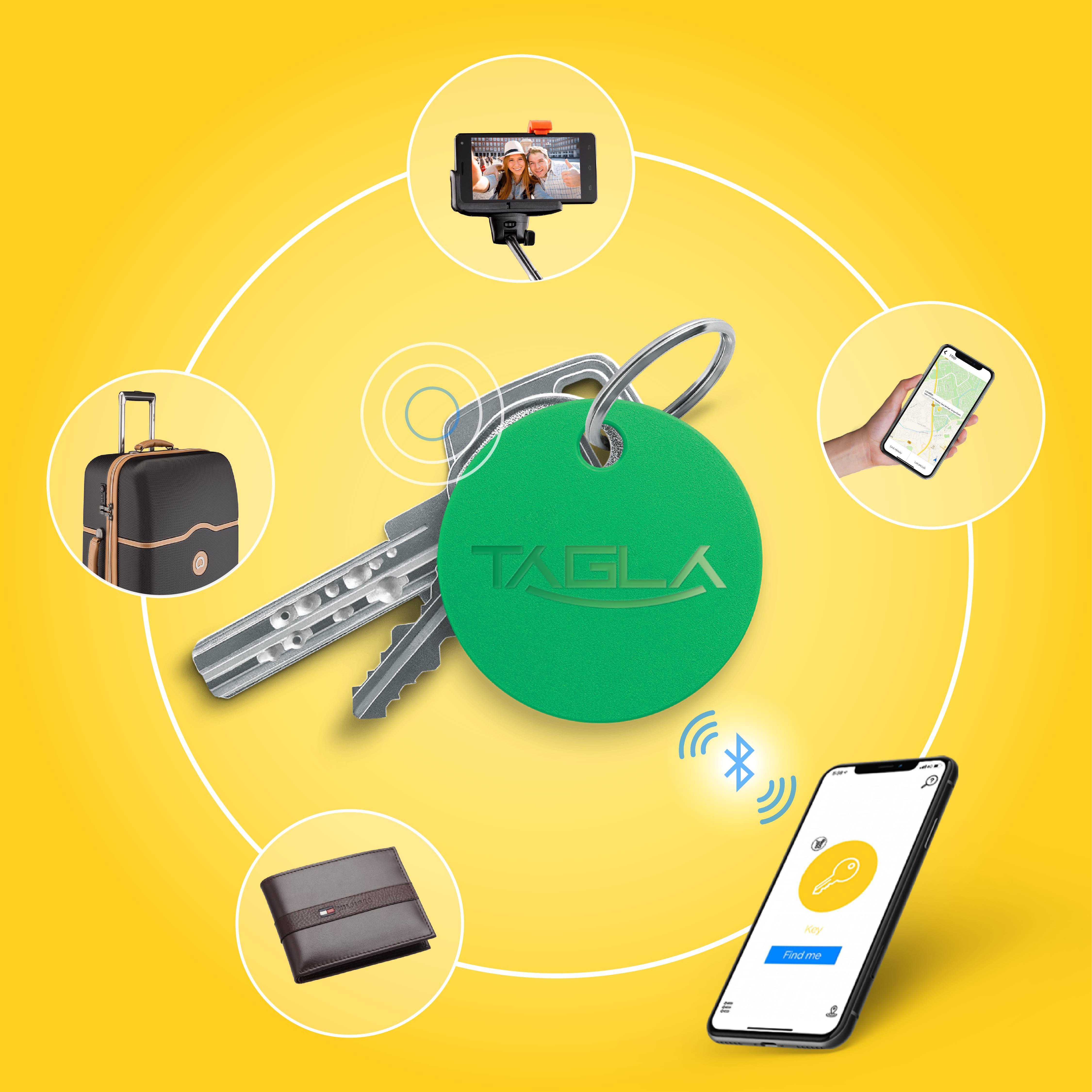 TAG La V2 Bluetooth Tracker Key Finder Item Finder Anti lost alarm device for Security-Key Locator, Wallet Tracker, Phone Finder, Selfie Remote (Green)