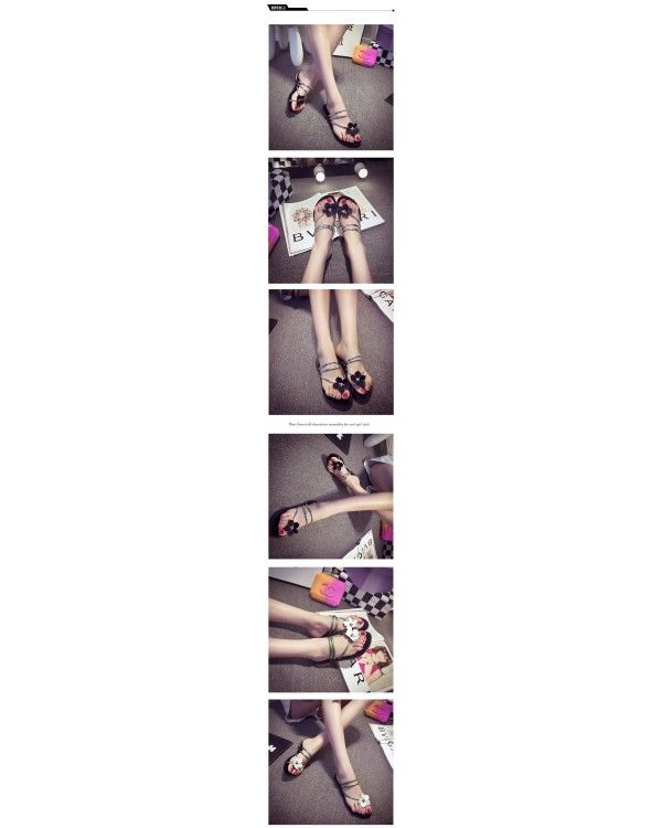 LARGE FLOWERS CASUAL FLAT SANDALS JS0006GR (GREEN, SIZE 38)