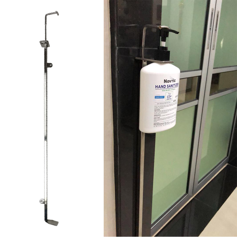 RRE Foot Pump Step Hand Sanitizer Holder Stainless Steel 304 Wall Mount Stand Universal 28mm Bottle Cap Size [A]